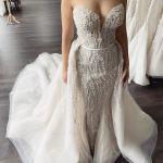 Strapless Sweetheart Beaded Tulle 2 In 1 Wedding Dress With Detachable Skirt Yesbabyonline Com