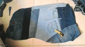 משטח ג'ינס לכרית הישיבה - צד שני