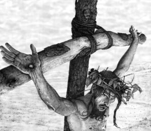 Yeshua upon the Tree - pencil before paint