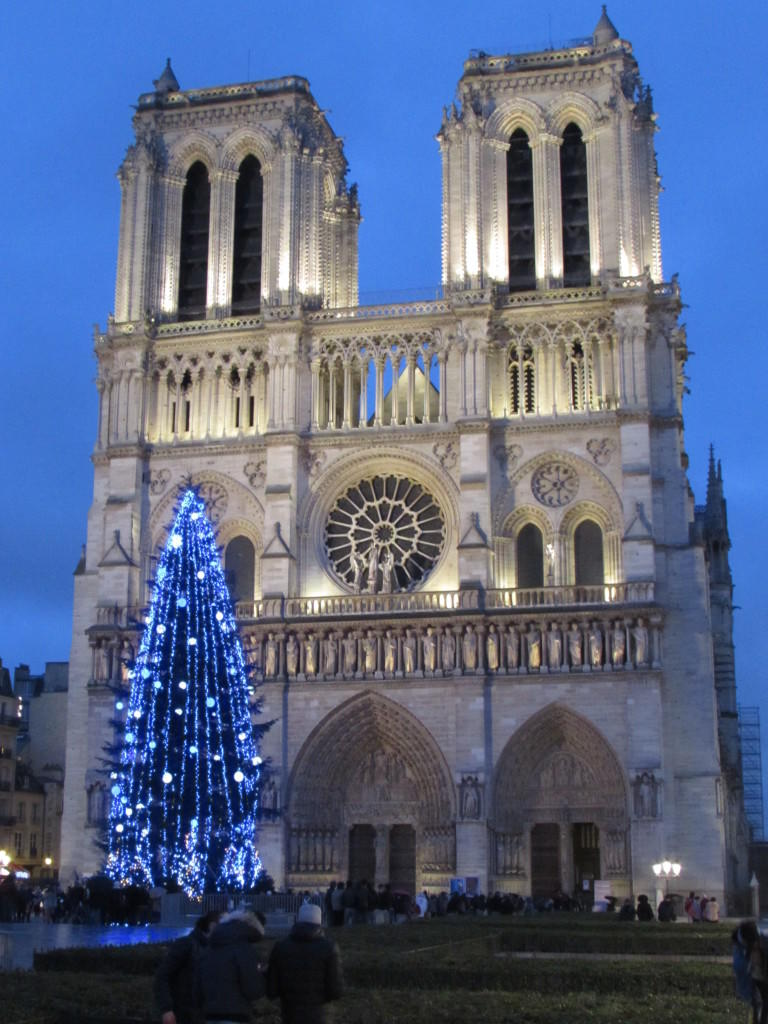 Christmas in Europe Paris France Notre Dame Cathedral Christmas tree holidays