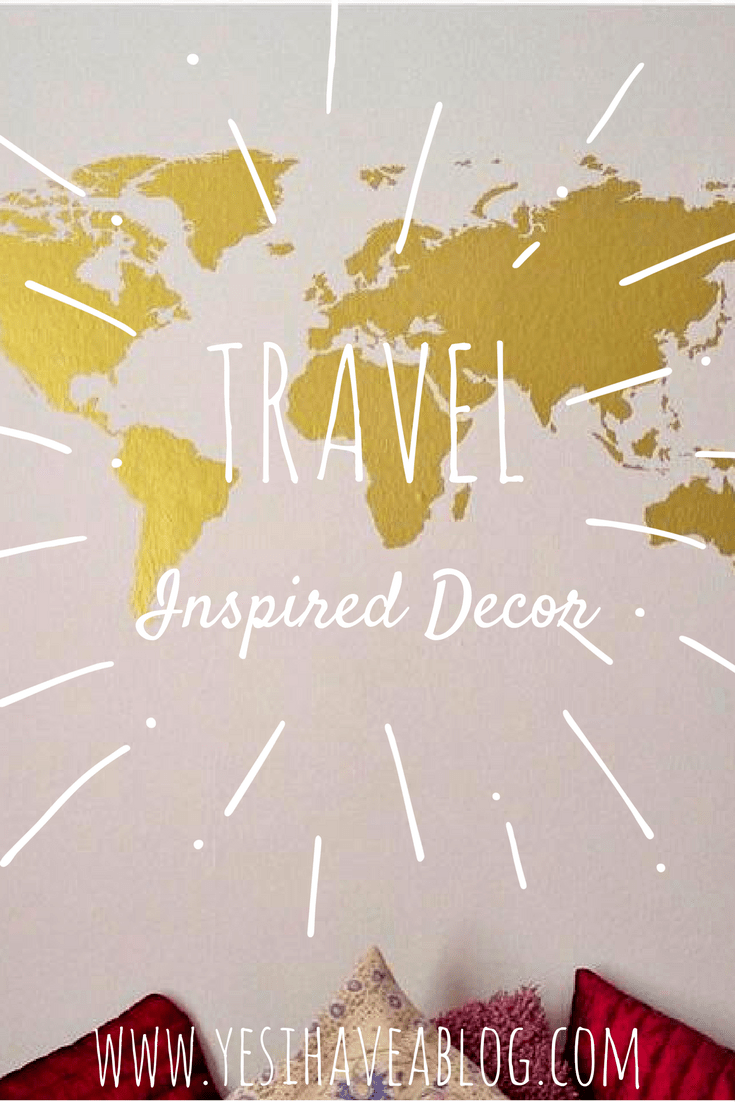 Yesihaveablog's guide to wanderlust and travel inspired home decor. Create your very own DIY hanging travel photo display or turn your bedroom wall into a wanderlust shrine with a metallic gold map of the world.