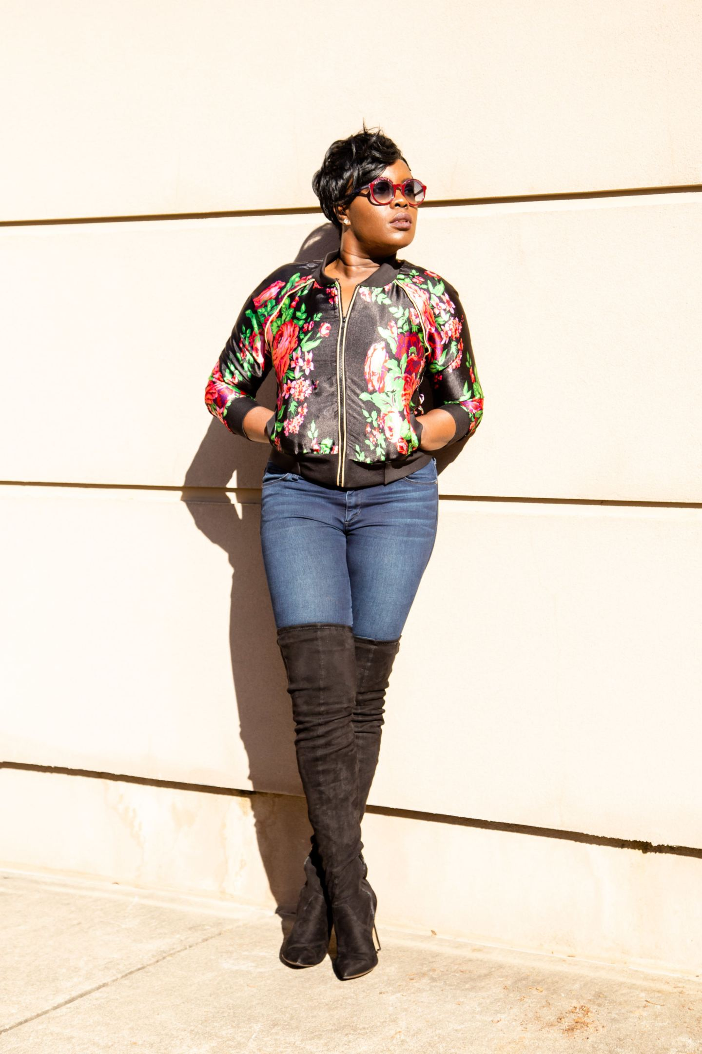 Floral Bomber Jacket DIY using McCalls M7100 / Yes I Made My Dress
