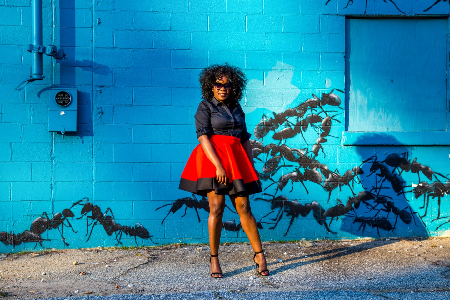 Black woman with curly hair wearing full circle skirt standing in front of a ant mural
