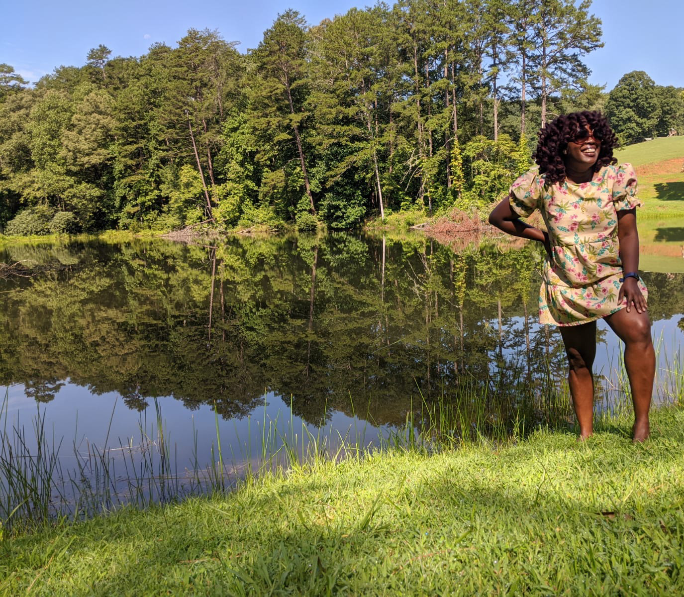 Black girl in front of lake in Blue Ridge, Georgia.