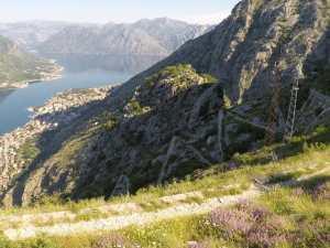 The zigzag bends hiking Kotor's Ladder, Kotor