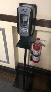 Purell hand sanitizing station
