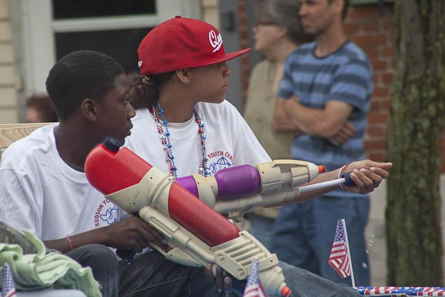 Karen Davis, Hudson NY, Flag Day Parade, kids from youth center with soaker guns
