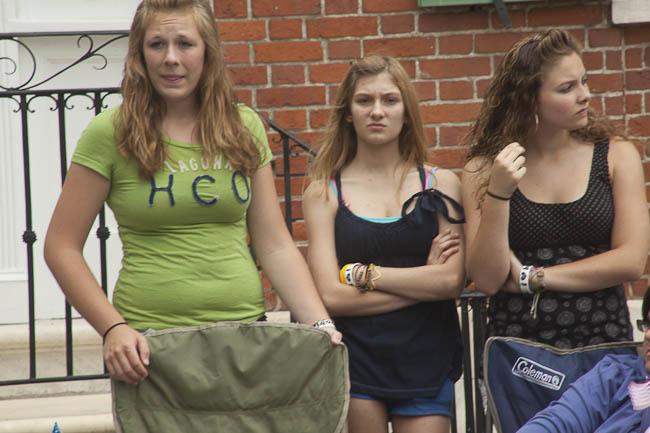 3 teenage girl spectators