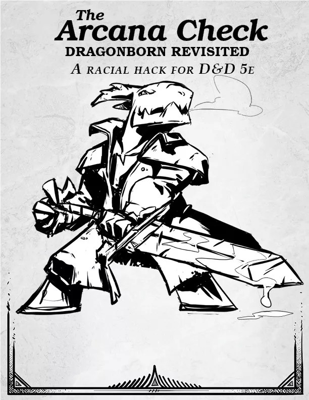A dragonborn warrior exhales into the cold air. They are wearing a rough jacket, and holding a two-handed sword with liquid dripping from the blade.