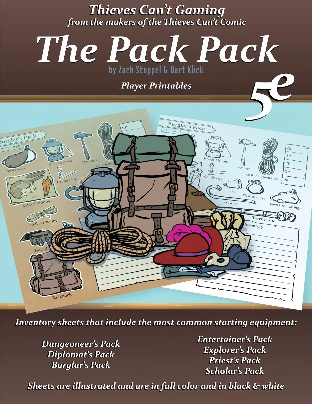 The Pack Pack! Player Inventory Pages for 5e