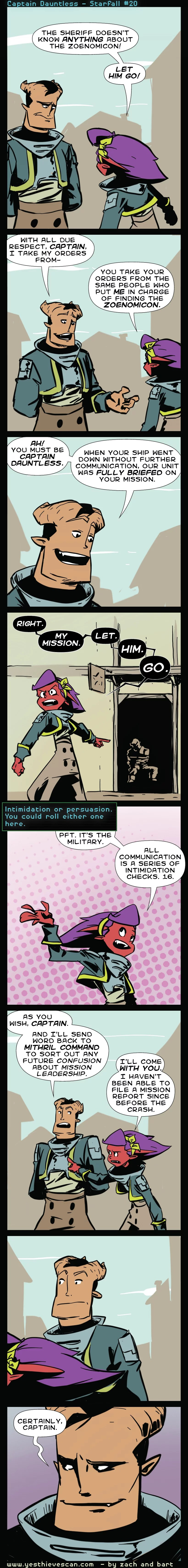 """All communication is a series of intimidation checks, unless you're grumbling """"fuck you"""" behind you're CO's back because he's making you mop potatos."""