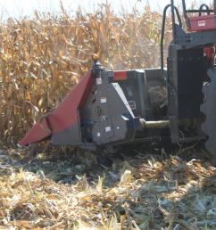 stalk devastator running under the corn head to crimp and crush old stalks [ 1200 x 800 Pixel ]