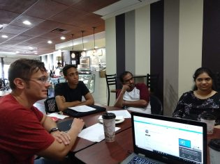 People meeting in person, pre pandemic