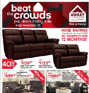 ashley cohes sofa chaise sets for drawing room in karachi furniture flyer and weekly specials november 19 25 2015 pre black friday deals