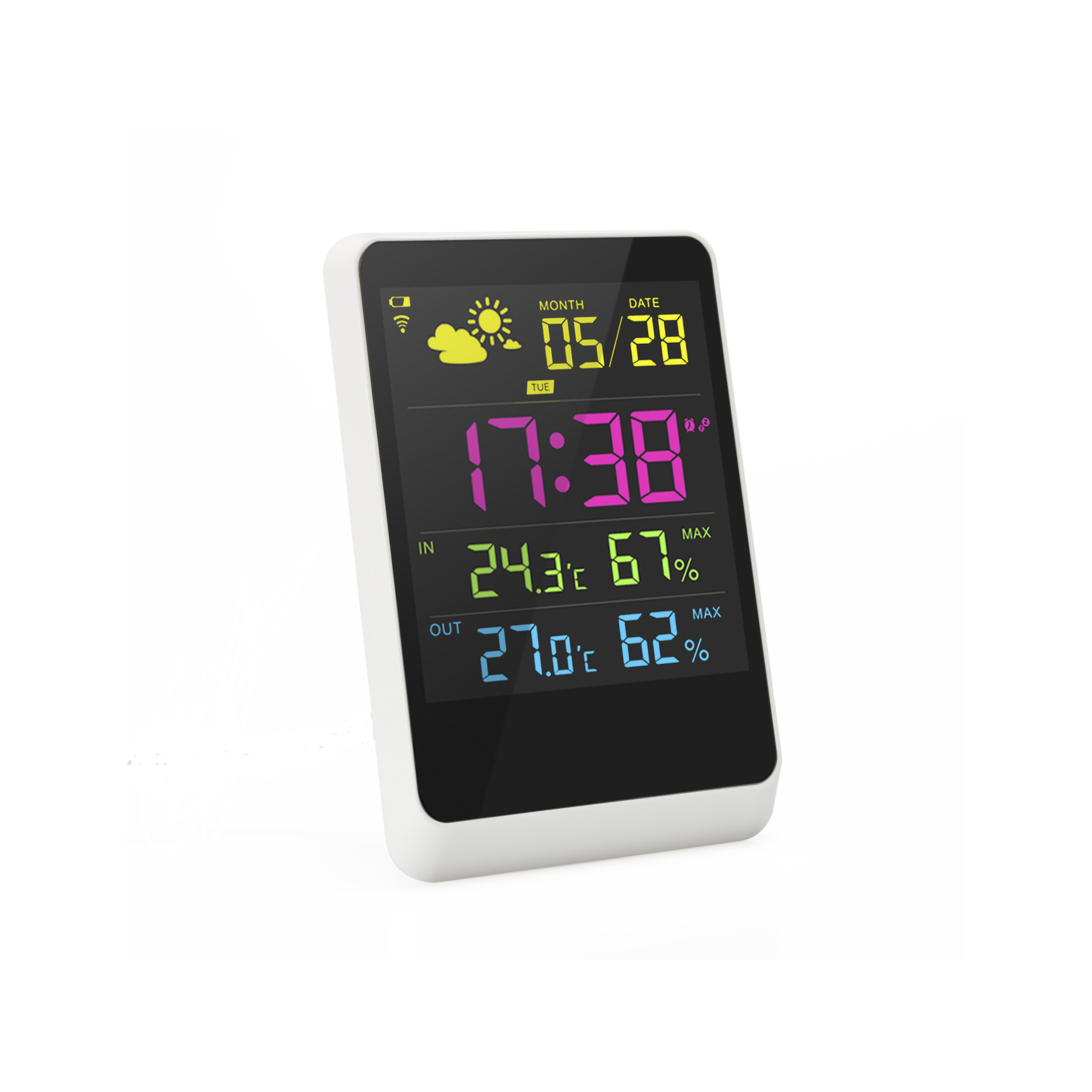 Household Ce Rohs Indoor Outdoor Professional Automatic Wireless Weather Station Clock