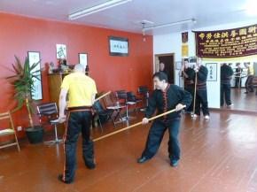 Sifu Hepple practicing pole techniques with Great Grandmaster Yee Chi Wai (June 2016)