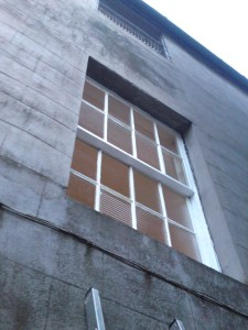 The renovated windows viewed from the alley.