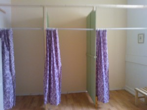 The original idea of re-using doors was shelved, for the time being, and curtains were put up instead for simplicity.