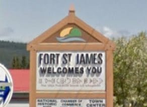 Fort St James tourist sign