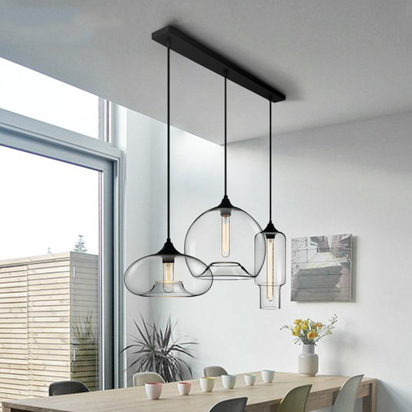 Modern Style 3 Light Pendant Light With Clear Glass Shade