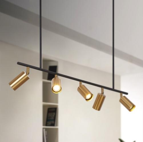 modern 5 light track light linear chandelier in black gold