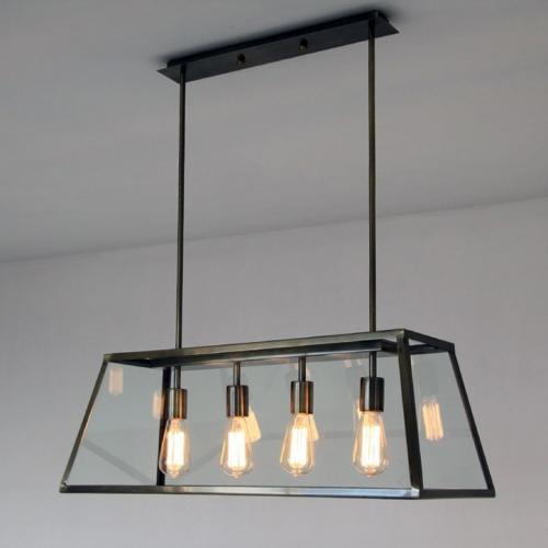 modern farmhouse 4 light island chandelier in black with retangle metal shade