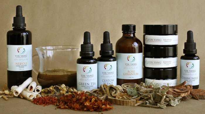 Herbal teas, creams, salves and serums to heal the skin.