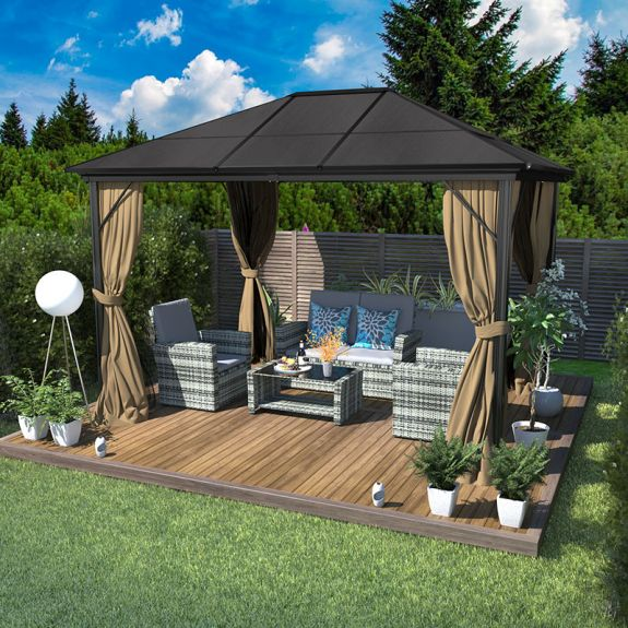 yitahome 10x12 outdoor permanent patio gazebo with shaded curtain