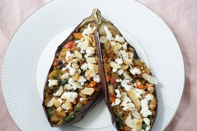 Gevulde aubergine - Recept - Clean Eating