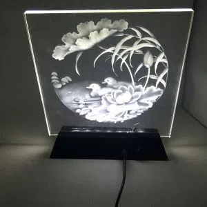 China Trapezoidal Wooden Led Light Base With Slot For 2D