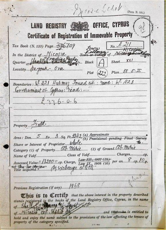 Merkez Belça arazisinin Shell'e ait olduğunu gösteren tapu kayıt belgeleri