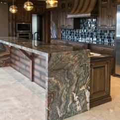 Granite Kitchens Kitchen Island With Pot Rack Yk Stone Center Custom Counter Tops Denver Marble Fusion Itchen 6cm Mitred Waterfall Edges Mirrored Flat Polish Edge
