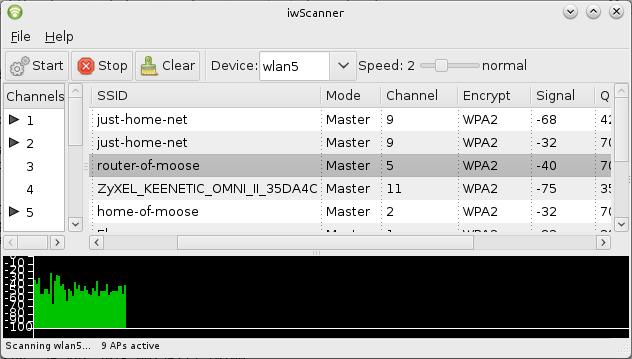 Мониторинг Wi-Fi сетей с помощью iwScanner