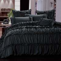 Charlotte Black Ruffle Ruched Queen / King Quilt Cover Set ...