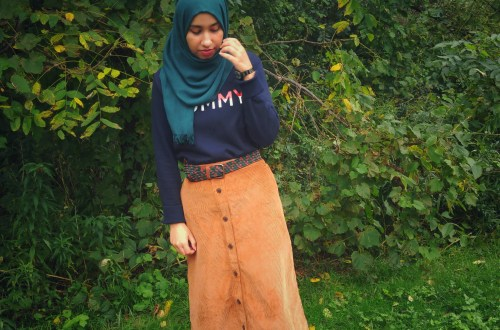 Hijab Girl Wearing Corduroy Skirt