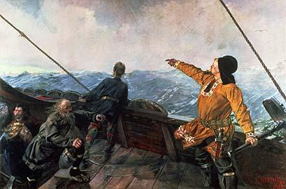Norse sailors spotting land