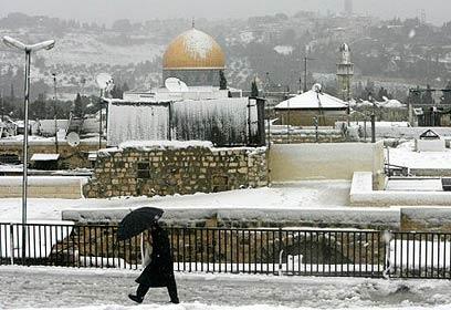 Jerusalém com neve (foto: Ynet)