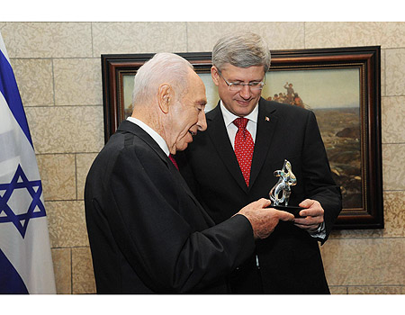 Canadian PM Stephen Harper with Israeli President Shimon Peres