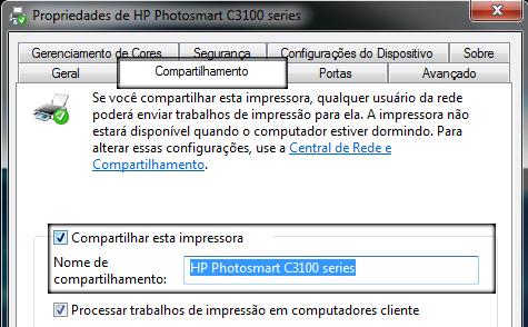 compartilhar impressora windows 7