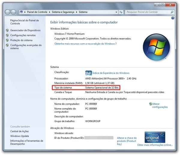 Tela com o Windows 32 ou 64 bits