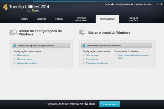 TuneUp Utilities 2014 - Personalizar