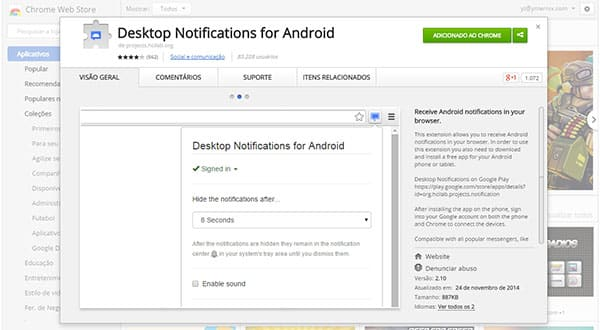 Desktop Notifications for Android Chrome