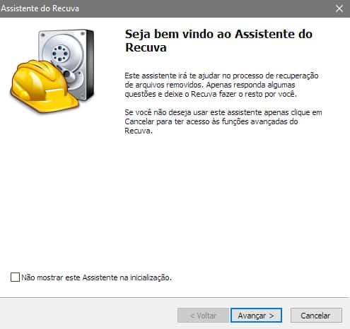 Assistente do Recuva - Recuperar arquivos excluídos da lixeira