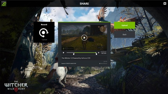 Pode-se realizar streaming do jogo ou upload diretamente do Geforce Experience Share