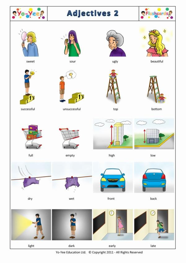 Adjectives Flashcards For Kids Adjetivo 2 Teaching
