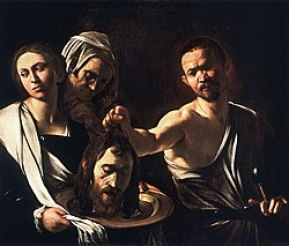 The painting depicts three people, one of whom, Salome, holds the Head of John the Baptist above a large plate held by a woman.