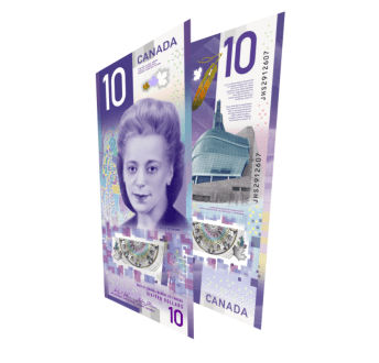 Canada's $10 bill featuring the face of Viola Desmond.