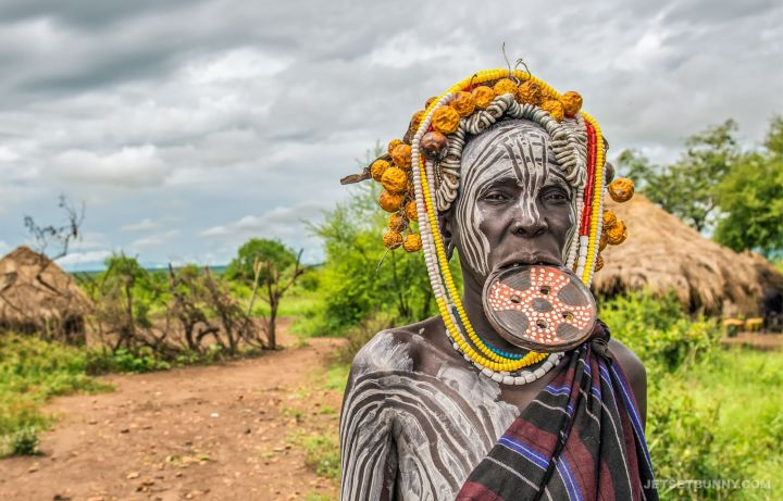 Mursi tribes woman with her lip plate