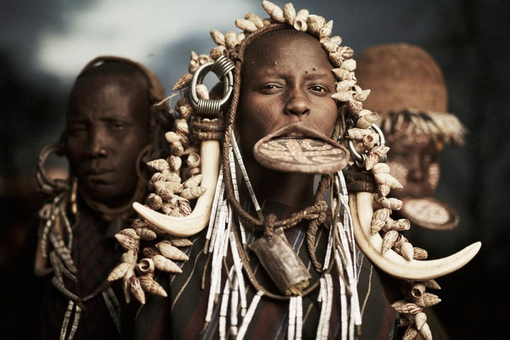 Ethiopian Mursi Tribe with lips plate
