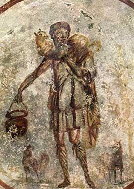 The Good Shepherd fresco in the catacombs of Callixtus